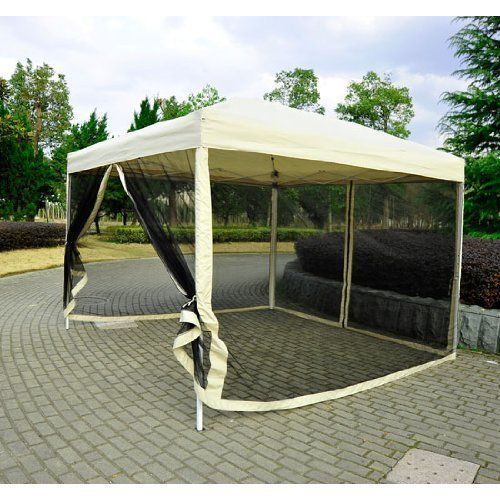 EZ Pop Up Patio Canopy Gazebo Tent Parties Wedding with Mesh Side Walls 10x10ft #EZPopUpPatioCanopyGazeboTent