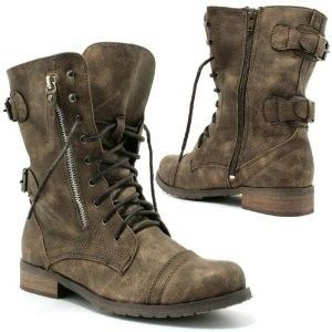 Brown combat boots are a great way to soften up a little