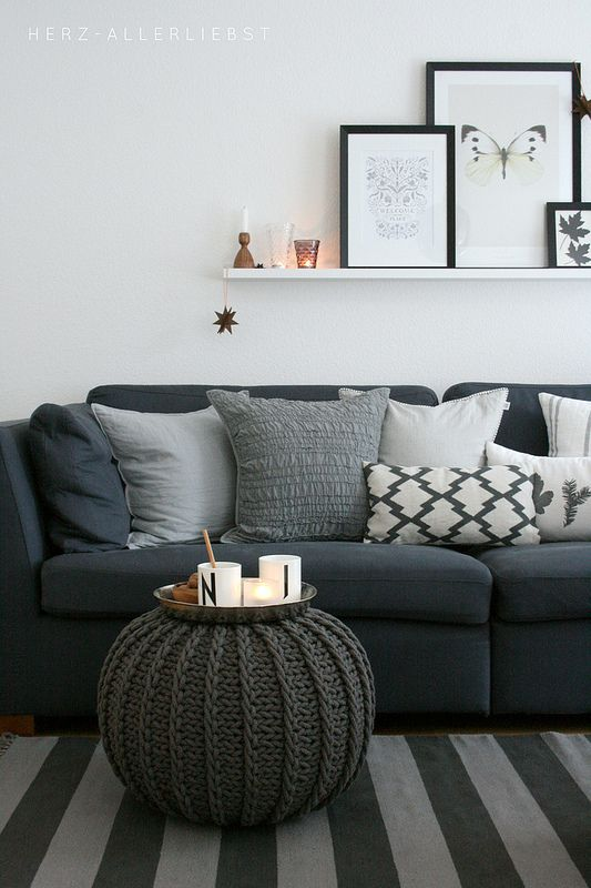 Dark Gray Sofa With Light Walls I Would Add Pops Of Color Pillows On The Couch Love Pouf
