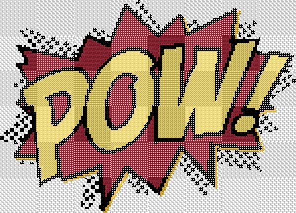 Cross Stitch Pattern - POW - Comic Books - by KaNITTED. $3.50, via Etsy.