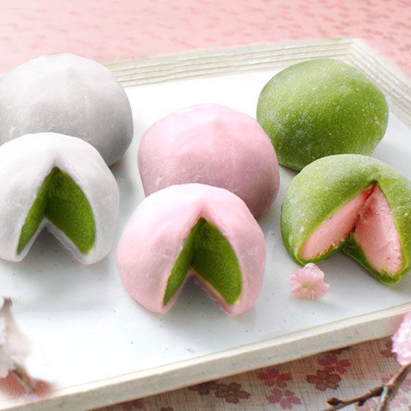 Japanese Sweets, 春の三色だいふく(抹茶、桜、塩桜)spring three-color daifuku (matcha, sakura, shiozakura)