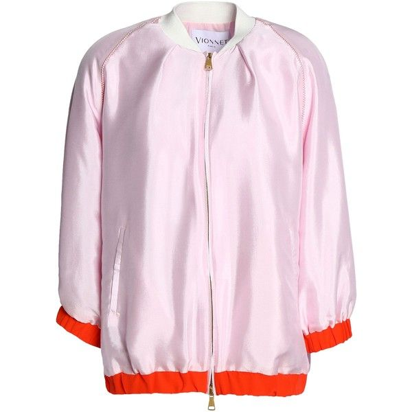 VIONNET  Silk-satin bomber jacket ($645) ❤ liked on Polyvore featuring outerwear, jackets, style bomber jacket, blouson jacket, zip bomber jacket, zipper jacket and pink bomber jackets