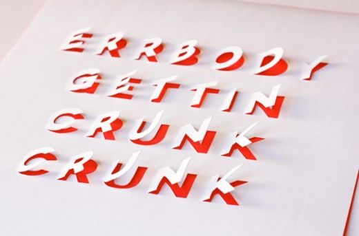 posters with cut-out lettering, typographic art by How About Orange