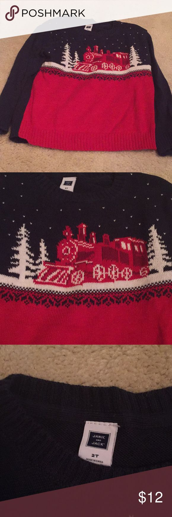 Janie and Jack Winter Train Sweater Sz 2T Janie and Jack Winter Train Sweater Sz 2T runs big- fit my son best at 3T Janie and Jack Shirts & Tops Sweaters