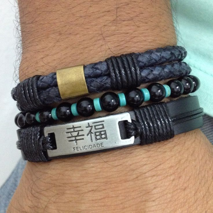 kit 3 pulseiras masculinas couro pedras naturais ônix turquesa e letra japonesa bracelet man men's fashion