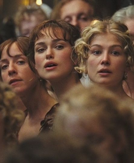 pride and prejudice, 2005, at the Merryton Assembly. Charlotte, Lizzie, and Jane