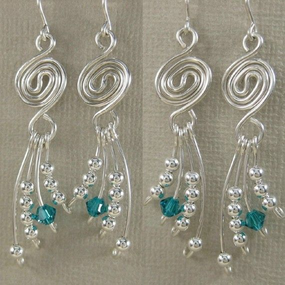 wire earrings with dangly wire wrapped beads