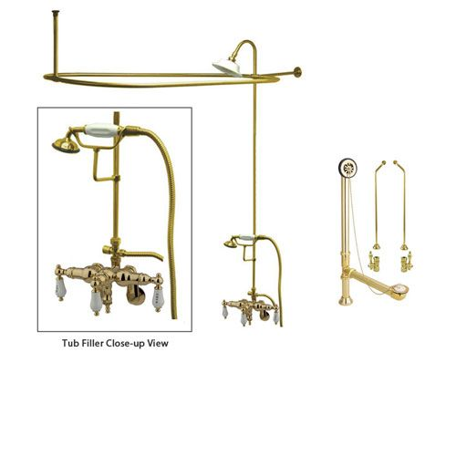 Polished Brass Clawfoot Bath Tub Faucet Shower Kit With Enclosure