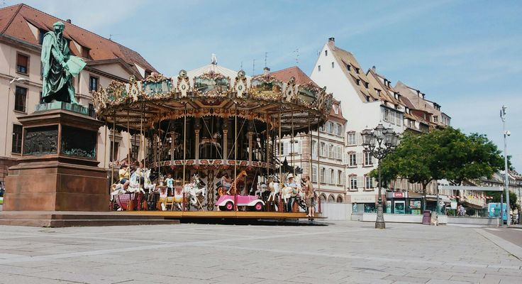 A carousel in Strasbourg💕  #Strasbourg #France #river #photography #tumblr #view #cute #architecture #house