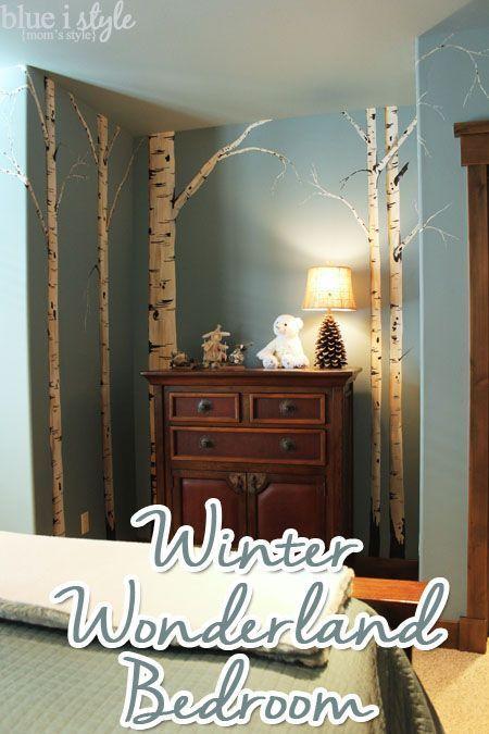 Winter Wonderland Bedroom - handpainted aspen tree mural, falling snow, and more!
