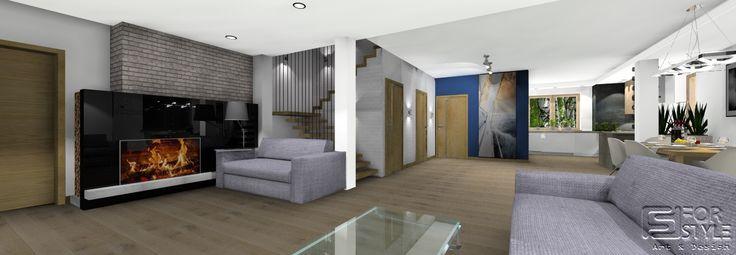 salon - nowoczesny i przestronny, kominek nowoczesny, klatka schodowa, nowoczesne schody, kuchnia otwarta, jadalnia, design.... Projektowanie wnętrz 4-style.pl