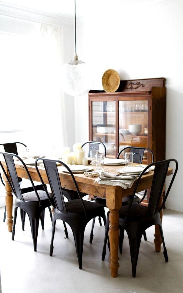 wood + white + metal chairs + glass globe pendant