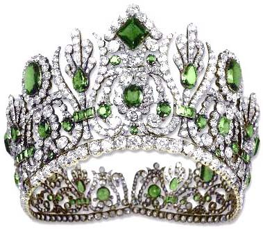 Empress Marie Louise of France's Emerald Diadem. This tiara was part of a parure made in 1810 by Francois Regnault for Nitot. In the 1950s Van Cleef & Arpels removed the emeralds and replaced them with turquoises. The emeralds were set into other pieces of jewellery and sold separately. The Empress was the second of Napoleon Bonaparte's wives.