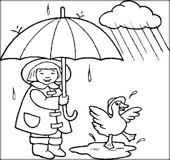 Weather Coloring Pages Kids In Rain Coloring Pages For Kids Coloring Pages Cartoon Coloring Pages