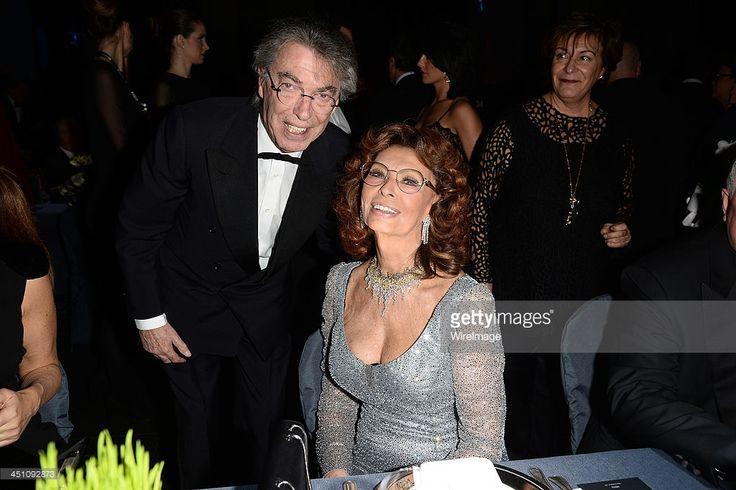 Massimo Moratti and Sophia Loren attend The Pirelli Calendar 50th Anniversary Dinner on November 21, 2013 in Milan, Italy.