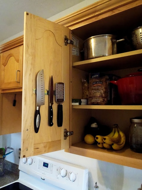 Turning It Home: Easy DIY Magnetic Knife Strip on inside of cabinet!!