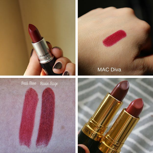 MAC Diva and Revlon Raisin Rage | MAC Lipstick Dupes | The Ultimate Guide | mac lipstick dupes list | mac brave lipstick dupes