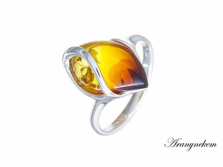 Színátmenetes borostyán köves ezüst gyűrű