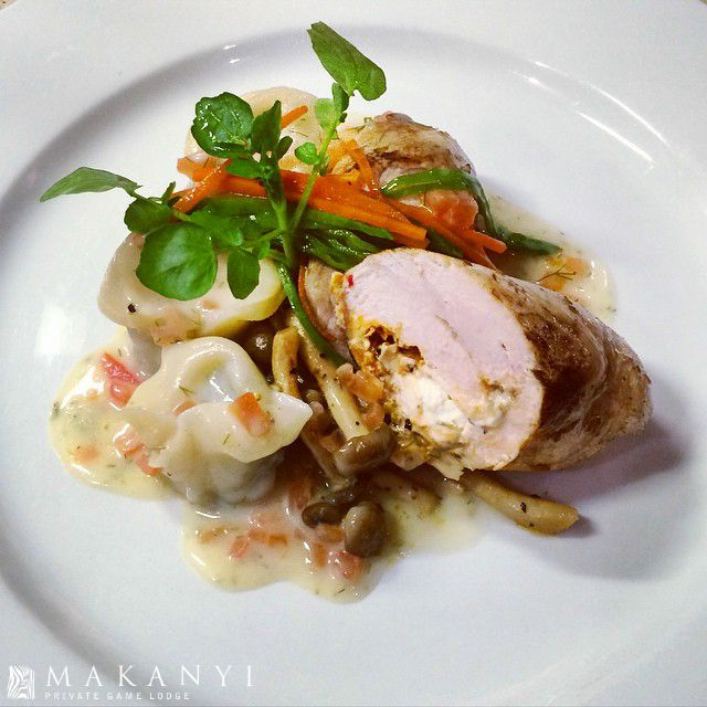 Chicken Ballantine, Enoki Mushrooms, Leek & Garlic Tortellini, julienne veg and veloute