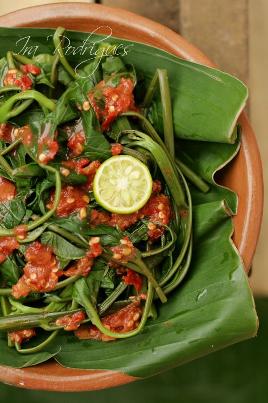 Plecing Kangkung   Water Spinach in Chili > with recipe in English