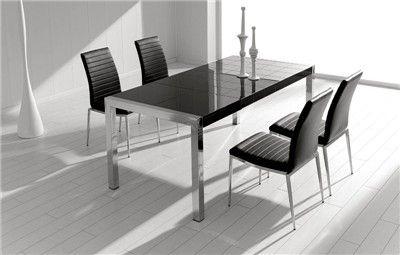 MESA DE COMEDOR SANDRINE. Mesa de comedor extensible con tapa de cristal