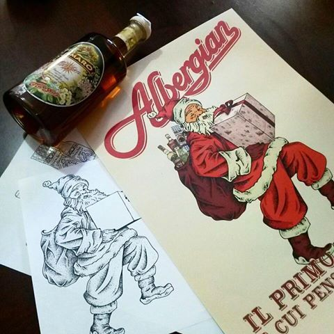 From ink to poster! Natale #albergian  #heygrapghic#illustration#illustrazione#ilustracao#illustrationart#dotwork #blackwork#graphicroozane#artwork#design#graphic#linework#blackandwhite#doodle#sketch#ink #lettering#natale #santaclaus #babbonatale#advertising#pinerolo#poster#liquor #christmas