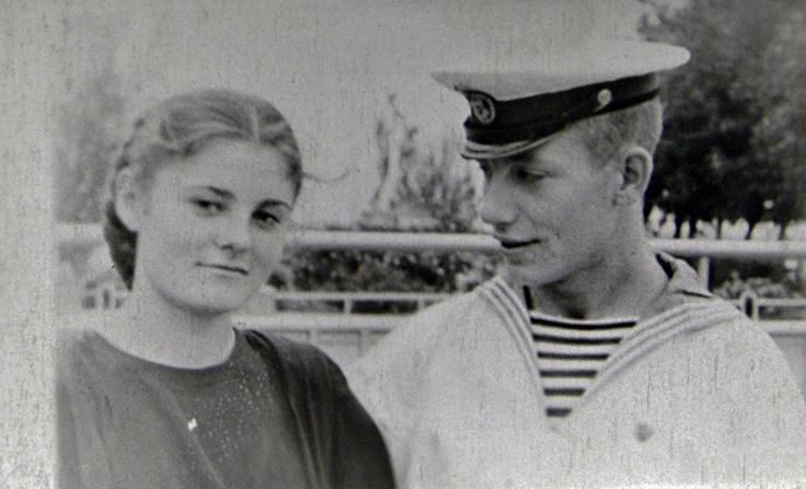 THE USSR. Old photo. Sailors cadets and girls.