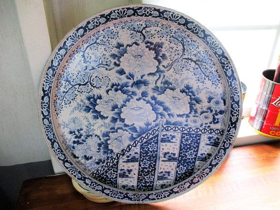 Vintage Metal Asian Blue and White Serving Tray