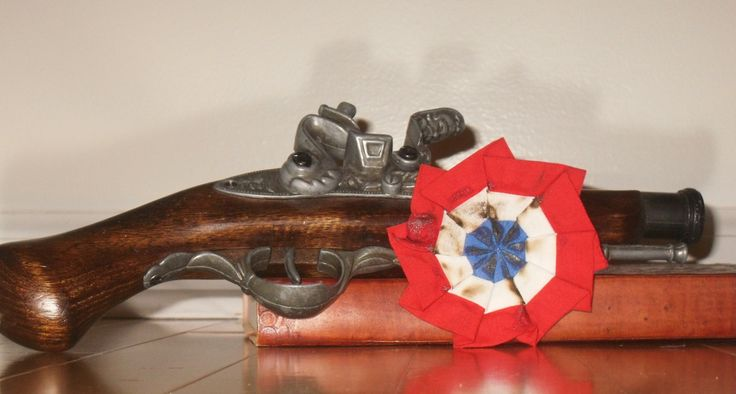 Les Miserables Cockade - Singed - Distressed  Red, White, and Blue - Pin or Barrette - Les Mis Barricade  rosette. $8.00, via Etsy.
