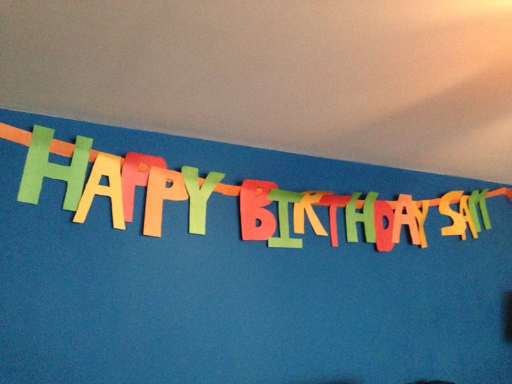 Home-made happy birthday banner made from a4 coloured paper
