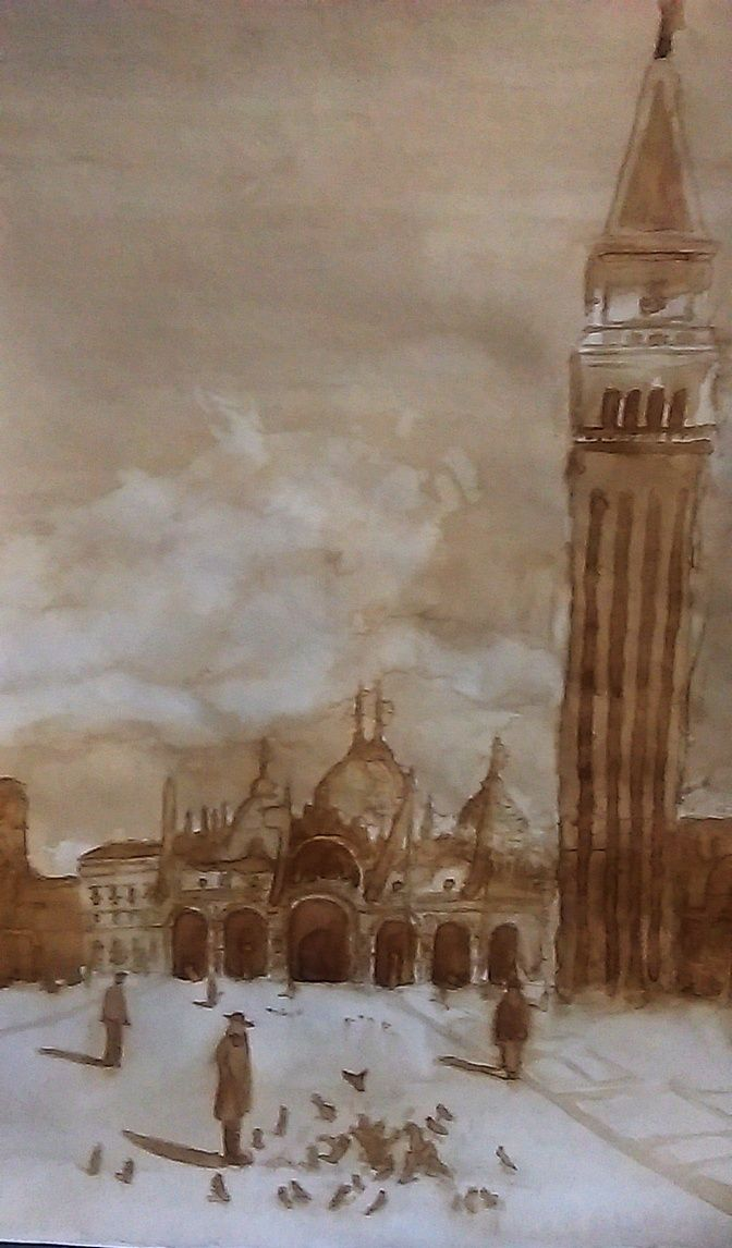 done by a young arch. painted with coffee
