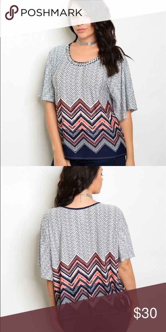 COMING SOON🎉🤗 Navy orange and white chevron pattern short sleeve top plus size 1x 2x 3x coming soon. If you would like notified when the arrive add your closet to the comments section and I will gladly let you know😊 Tops
