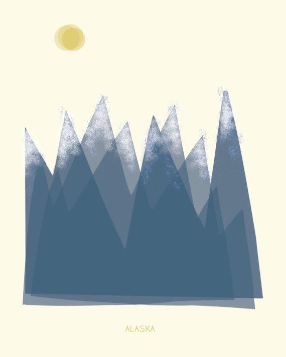 Alaska art print illustration - 8x10 - blue mountains © Bridgette Hall