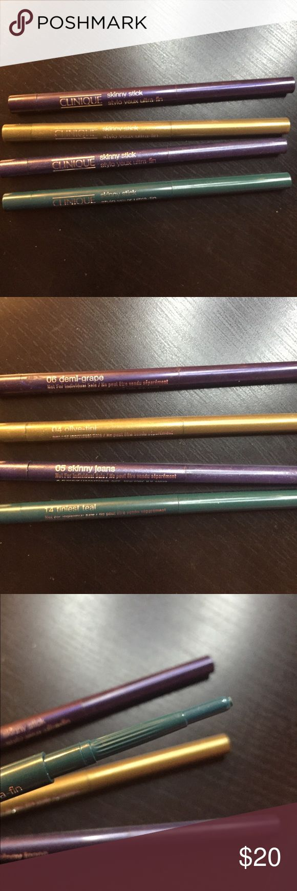 Clinique skinny stick eyeliners Brand new, never used. Twist up eyeliner sticks. Can be separated upon request. Came all together and are slightly smaller than the full size. Clinique Makeup Eyeliner