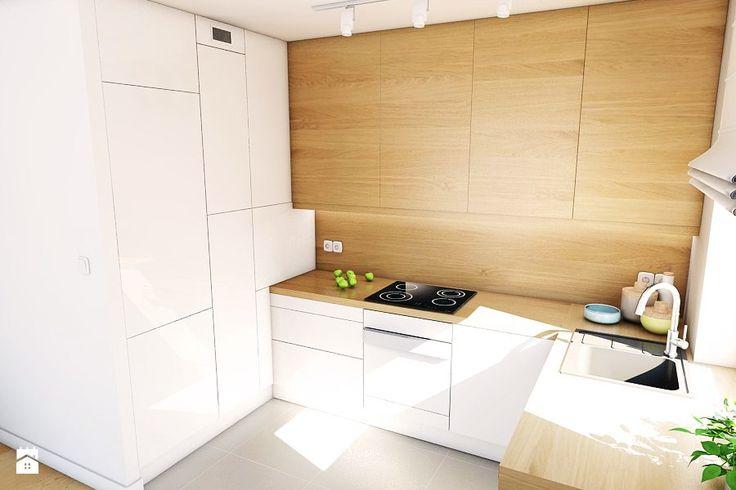 Aranżacja mieszkania przy ul. Małomiejskiej w Gdańsku - Mała otwarta kuchnia w kształcie litery u w aneksie, styl nowoczesny - zdjęcie od Pracownia Projektowa MONO