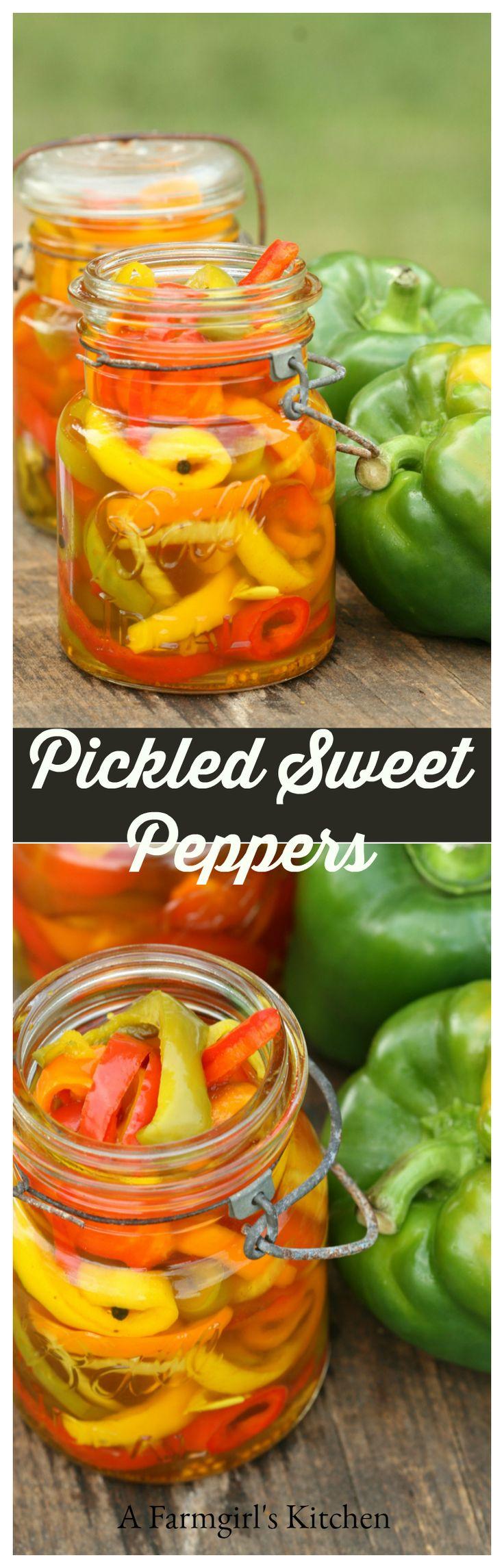 Homemade Pickled Sweet Peppers #recipe #homemade https://afarmgirlskitchen.com/pickled-sweet-peppers/