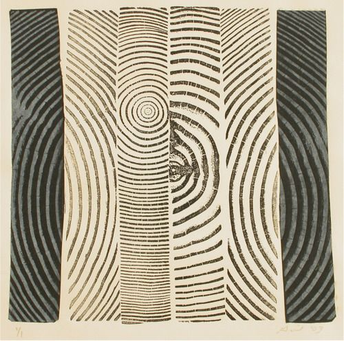Bryan Nash Gill  strips of lino blocks printed together  Black and White #3, 2003