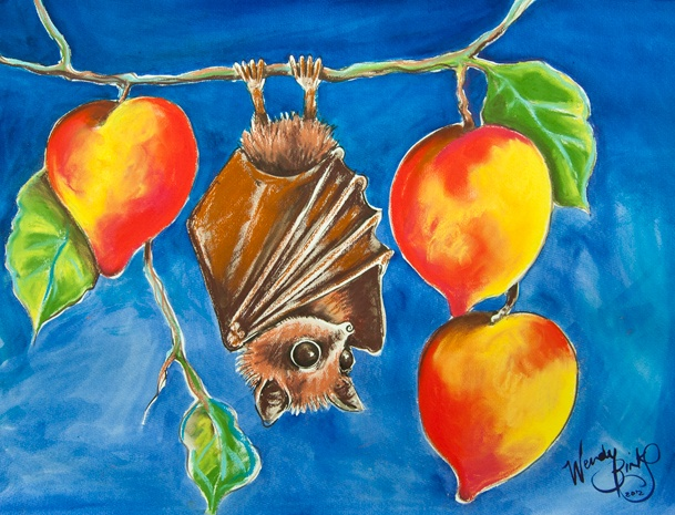 Wendy Binks, owner of the Stunned Emu Designs in Fremantle, produced two creations at the Perth One Word, One Day. The first, seen here, is a gorgeous Fruit Bat.