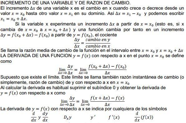 Calculo diferencial: 4.1 Conceptos de incremento y de razón de cambio. La derivada de una función.