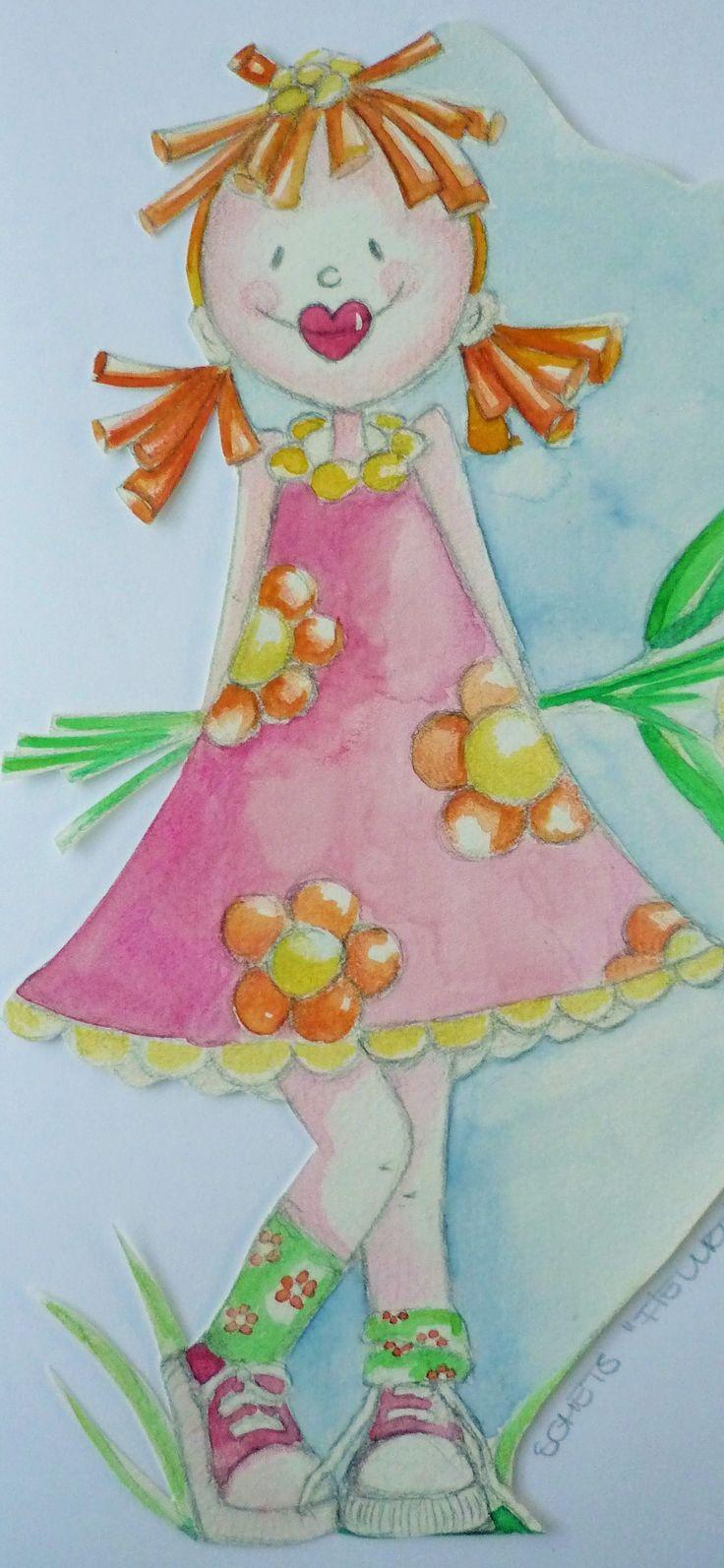ontwerpje meisjeskamer, kleurpotlood, aquarel