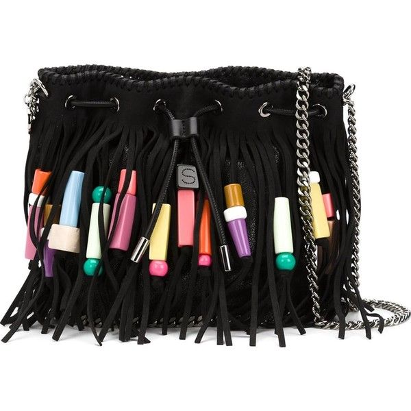 Stella Mccartney Fringed Bucket Bag (52,040 THB) ❤ liked on Polyvore featuring bags, handbags, shoulder bags, purses, black, bucket bag, drawstring bucket bag, bucket bags handbags, hand bags and faux-leather handbags