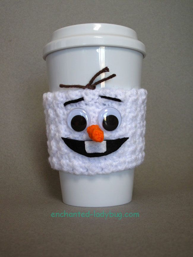 Free Crochet Olaf Coffee Cup Cozy Pattern by The Enchanted Ladybug