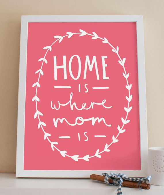 Home Is Where Mom Is Print A4  Mother's Day Gift por OldEnglishCo
