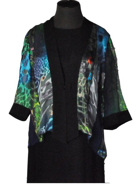 Kimono Style Silk Jacket with a Black Trim.  $129.00