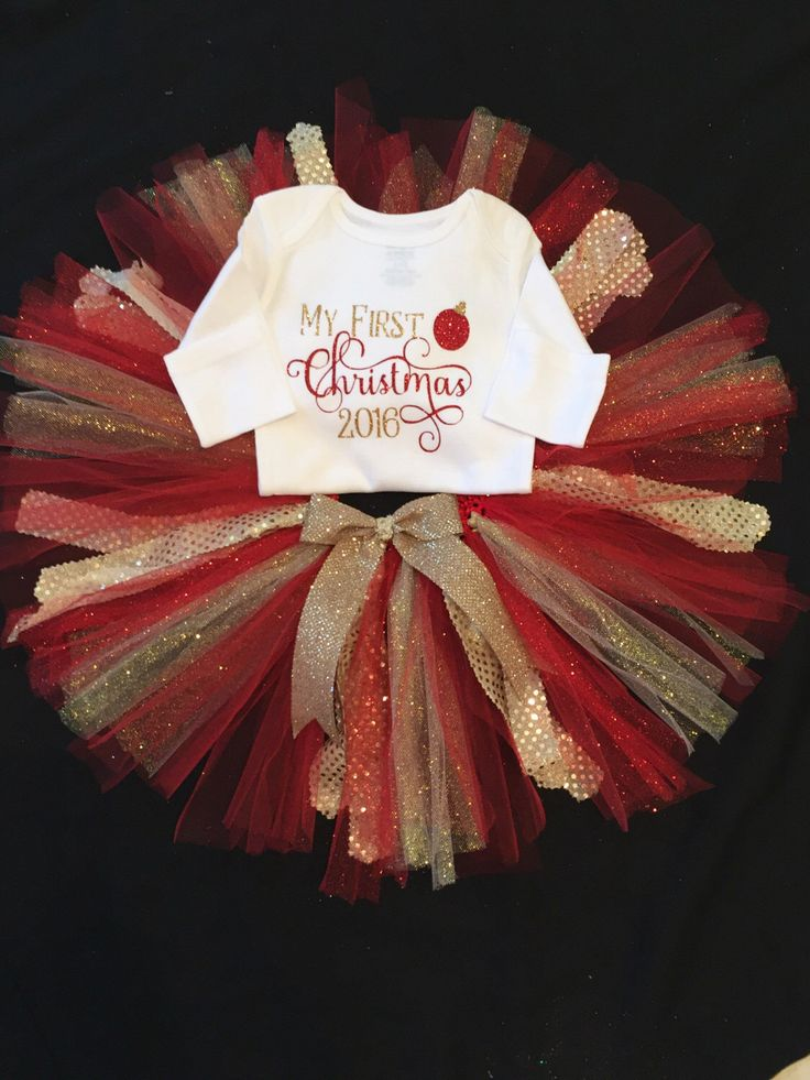A personal favorite from my Etsy shop https://www.etsy.com/listing/483233629/christmas-tutu-and-onesie-with-my-1st