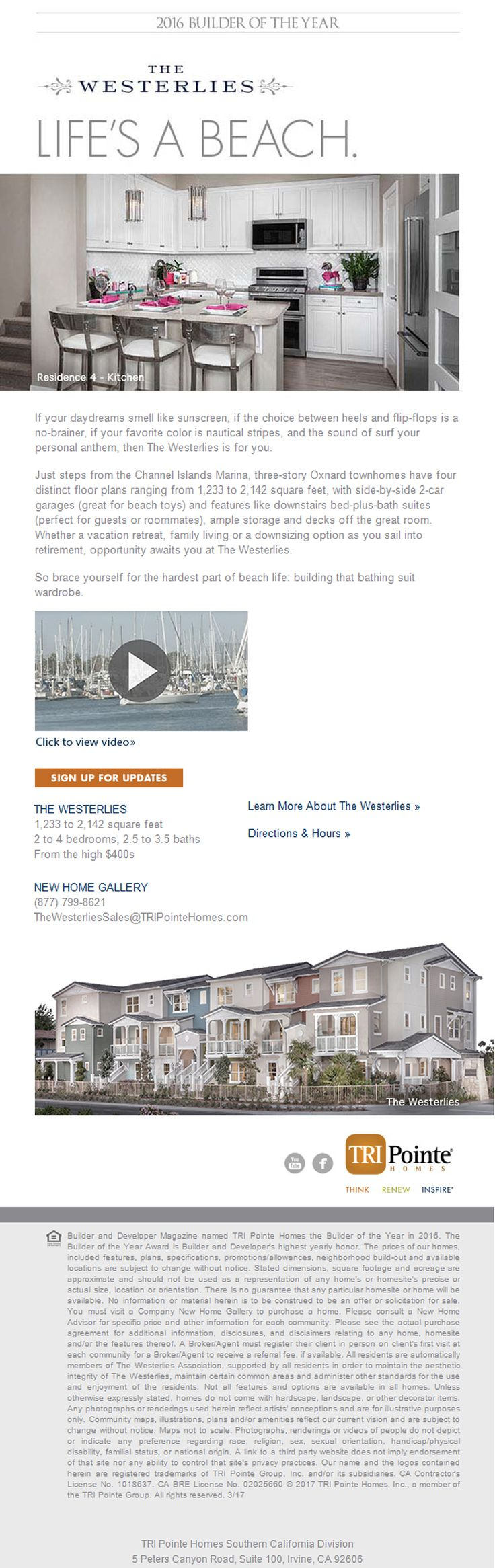 New Homes for Sale in Oxnard, California  New Homes at The Westerlies, Break Out Your Flip Flops  Just steps from the Channel Islands Marina |  Three-story Oxnard Townhomes  | Designed for Ease & Convenience, so you can soak up the best of beach live!  https://www.tripointehomes.com/southern-california/the-westerlies/