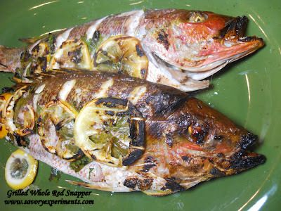 Grilled Whole Red Snapper- how to gut, de-gill, de-scale and grill whole fish with fresh herbs