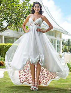 A-line V-neck Asymmetrical Organza Wedding Dress – USD $ 127.99