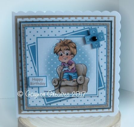 Gaming Mad Boy Offset Panels Card Front by Gaynor Greaves: Printed on to neenah solar white and trimmed to fit inside a 7 x 7 inch card…