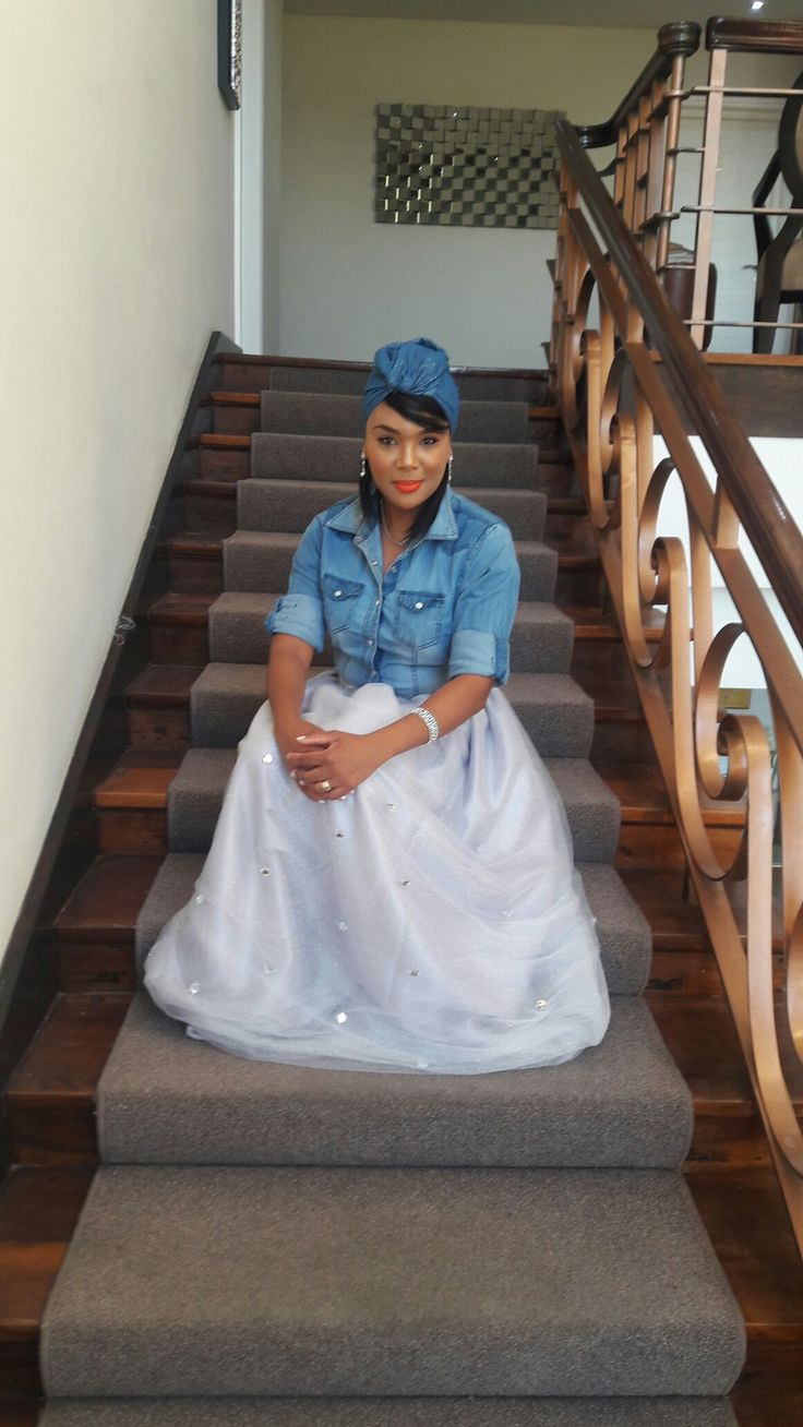 Denim and diamonds with headwrap